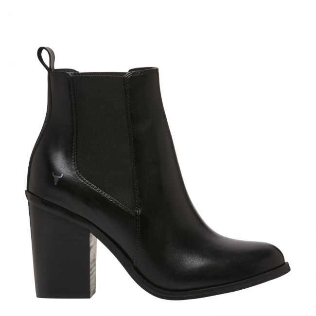 LILLE BLK LEATHER BOOT   WOMENS BOOTS
