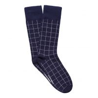 WINDOW CHECK MEN'S DRESS SOCK NAVY