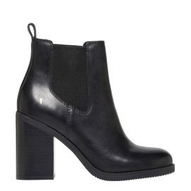 women's high heel gusset boot with round toe and block high heel - side