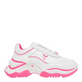 Windsor Smith Chaos white lace up sneakers with pink coloured features. Side angle view.