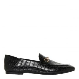 Windsor Smith black croc print flat shoe with horsebit hardware - side view