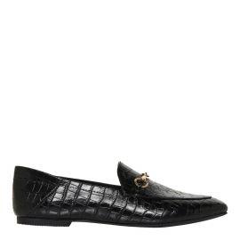 Windsor Smith black croc print flat shoe with horsebit hardware - side view