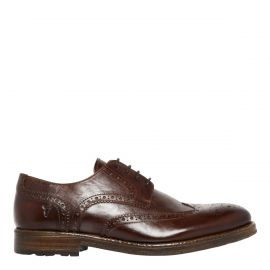 Men's brown derby brogue shoes on side view - Edward by Windsor Smith