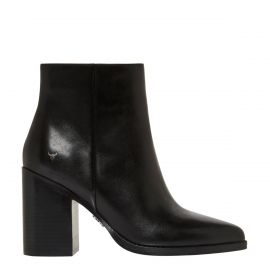 side - womens black block heel boot 8cm