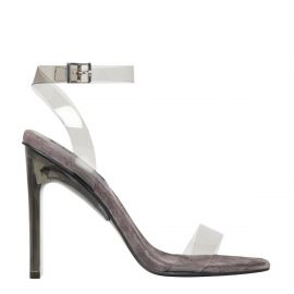 Women's ash grey perspex upper high heel with suede lining and ankle buckle strap. Fancy Ash by Windsor Smith. Side view.