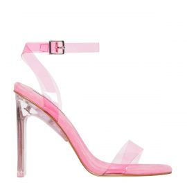 Women's neon pink perspex upper high heel with suede lining and ankle buckle strap by Fancy Pink by Windsor Smith. Side view.