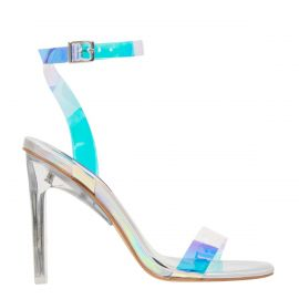 Silver holographic high heel shoes- side view. Fancy Silver by Windsor Smith.