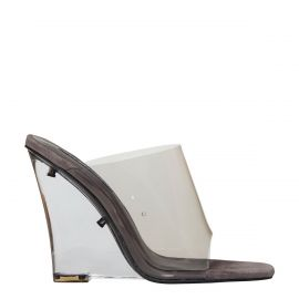 Women's grey perspex clear wedges. Flawless by Windsor Smith - side view