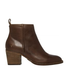FLEUR CHOCOLATE LEATHER BOOT