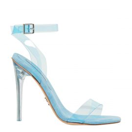 Women's blue perspex stiletto high heel with wide ankle strap and buckle. Fling by Windsor Smith - side view