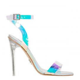 Women's silver holographic perspex stiletto high heel with wide ankle strap and buckle. Fling by Windsor Smith - side view