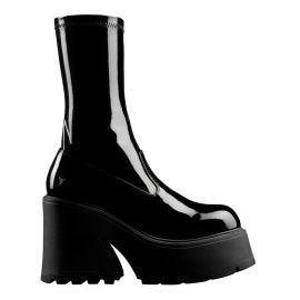FOUND BLACK PATENT STRETCH SOCK BOOT