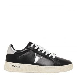 Windsor Smith Galaxy black lace up sneakers with silver coloured back tab and silver bull head logo on side. Side angle view