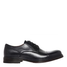 Men's black lace-up dress shoe for grooms and groomsmen.