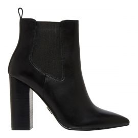 Side view of women's black gusset boot