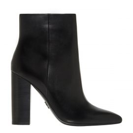 Side image of Heather black leather high heel boot with side zip