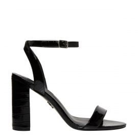 Side view of Black high heel sandal with a patent croc print texture.