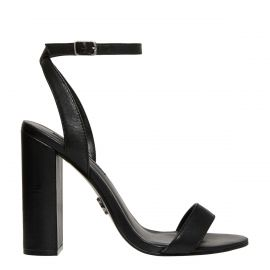 Side view of black ankle strap block high heel