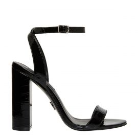 Side view of black patent croc print ankle fastening block high heel
