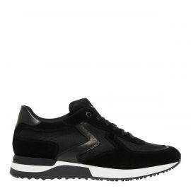 Jay - Men's Black Leather, Suede, Mesh sneakers (white sole) from Windsor Smith shoes - Side view