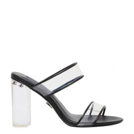 Kendell - high heel mule with clear heel and two wide perspex strips - side view - Windsor Smith