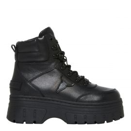 Side profile of chunky black festival lace up boot