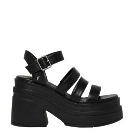 MISSYOU BLACK LEATHER SANDAL