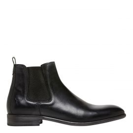 Men's black ankle boot with elastic sides on a side view. Oliver Black by Windsor Smith