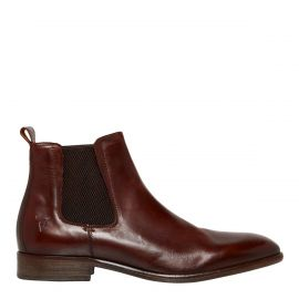 Men's brown dress boot with elastic gusset sides. Oliver by Windsor Smith. Side view.