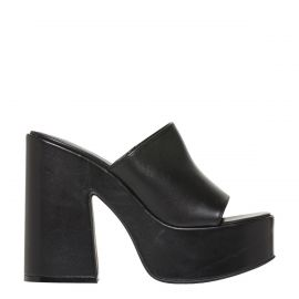 PAGEANT BLACK LEATHER PLATFORM HEEL