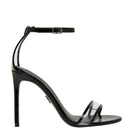 Women's black croc stiletto high heel with perspex backing and ankle strap