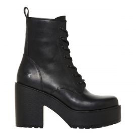 Women's block heel lace up boot
