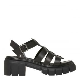 SLAP BLACK LEATHER SANDAL