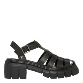 STEPHANIE BLACK LEATHER SANDAL