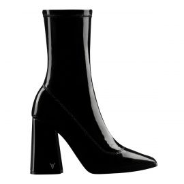 SWOON BLACK PATENT STRETCH SOCK BOOT *PRE-ORDER*