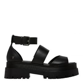 THRILLED BLACK LEATHER SANDAL