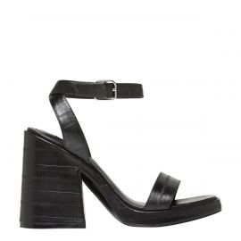VIBES BLACK PANEL LEATHER HEEL