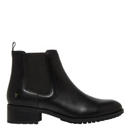Black leather ankle boot - side view -  Windsor Smith