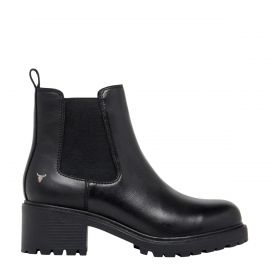 WISDOM BLACK LEATHER BOOT